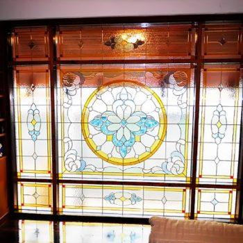สเตนกลาสรางทองเหลือง Stained Glass ( Brass Rails )