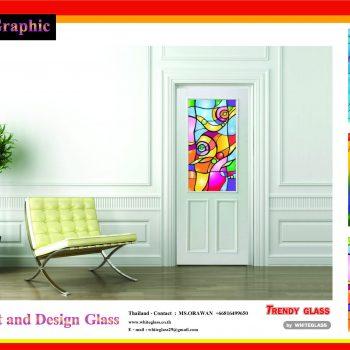 แบบประตู กระจกพิมพ์ลาย Trendy Glass