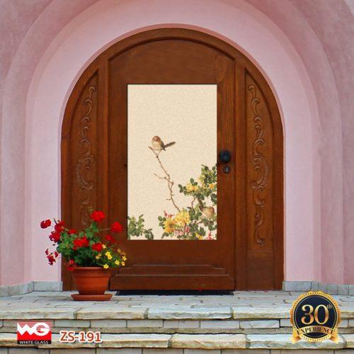 ประตูกระจกพิมพ์ลาย White Glass โดดเด่น สวยงาม คงทน